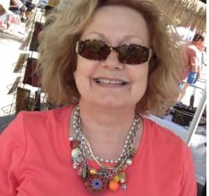shopper Mary Evelyn wearing her new Ruby Mae southwest bib necklace