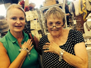 Sisters Peggy & Pat model special order bracelets Peggy had me create celebrating their dad who recently passed. Pat was so exicted to receive hers.
