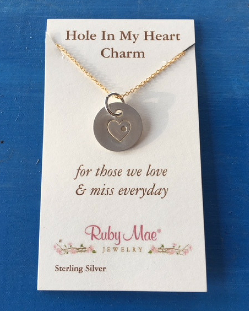sterling hole heart charm necklace