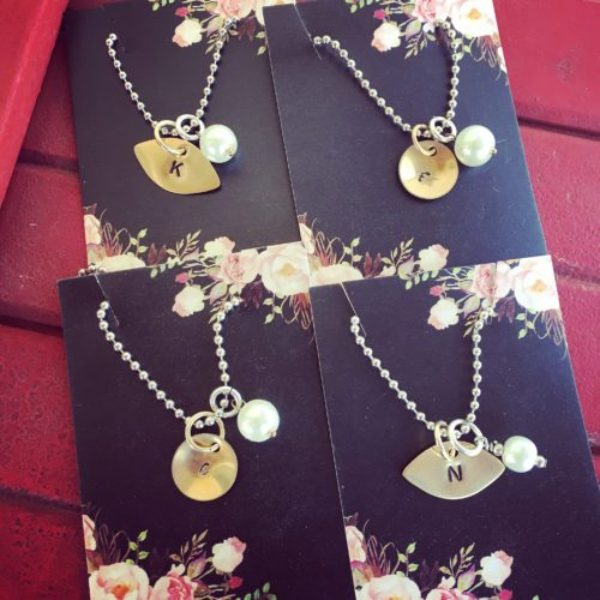 Initial necklaces chosen by Jody for girls graduating high school.