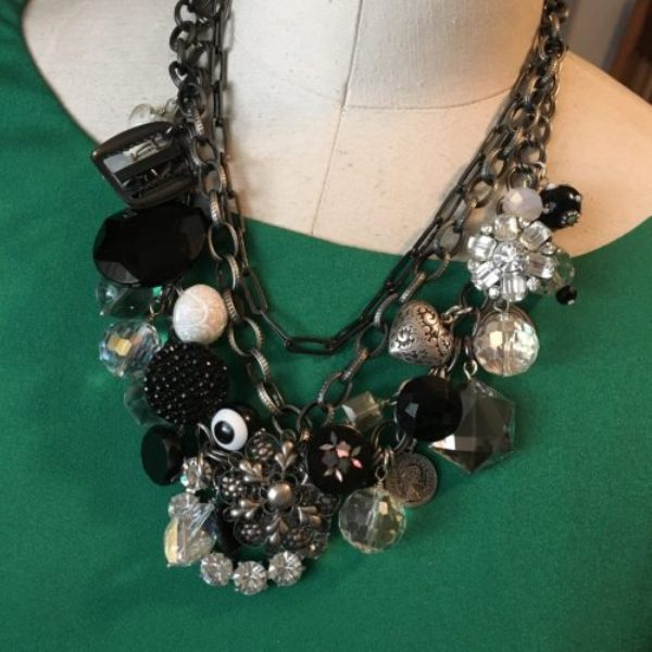 Trinket, buttons & buckles necklace selected at the May 2016 Junk In The Trunk Vitage Market