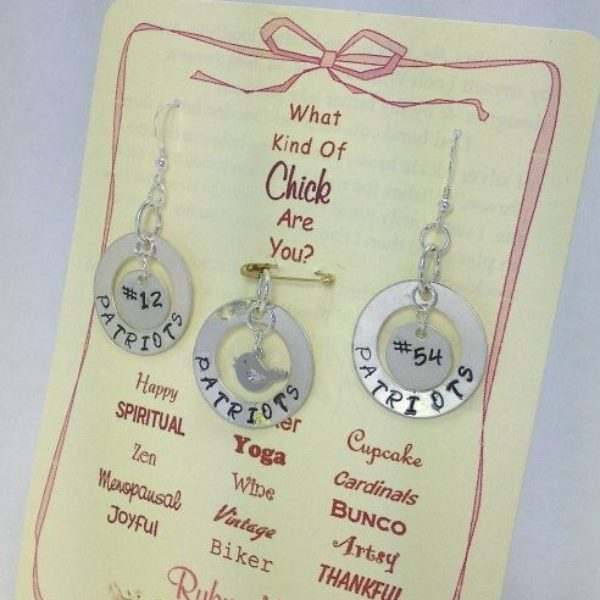 Chick charm earring & necklace set for the Patriots #1 fan Dede