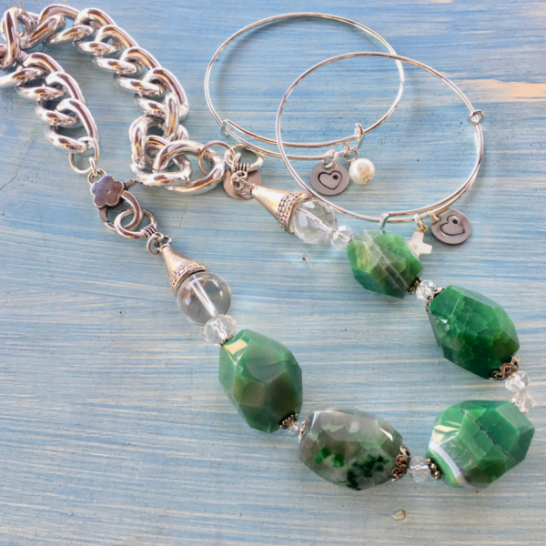 Green Stone Necklace & Hole In My Heart Adjustable Bangles