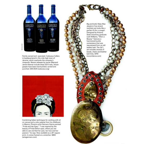 Necklace featured in Phx Home & Garden courtesy Coco Milano's