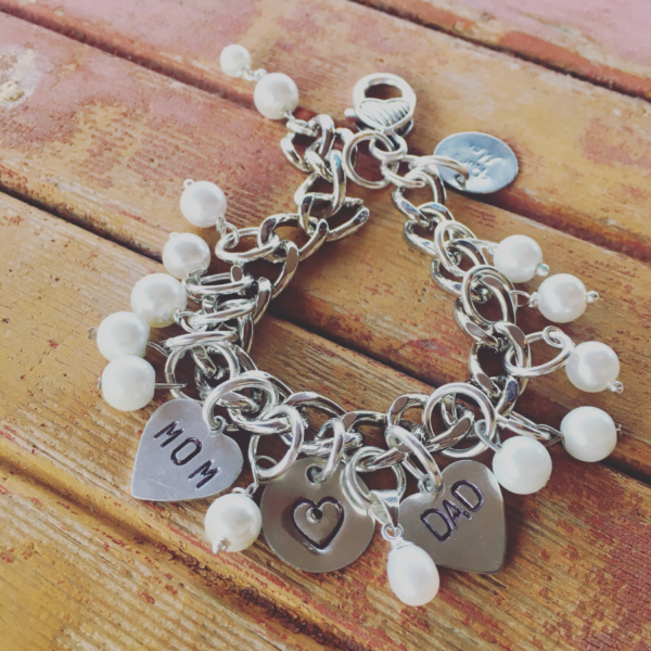 Mom Dad Hole In My Heart Charm Bracelet